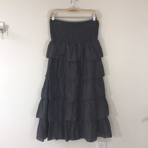 Gray strapless cotton dress ruffled tiered